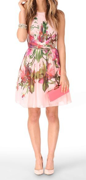 Floral summer dress, heels, clutch
