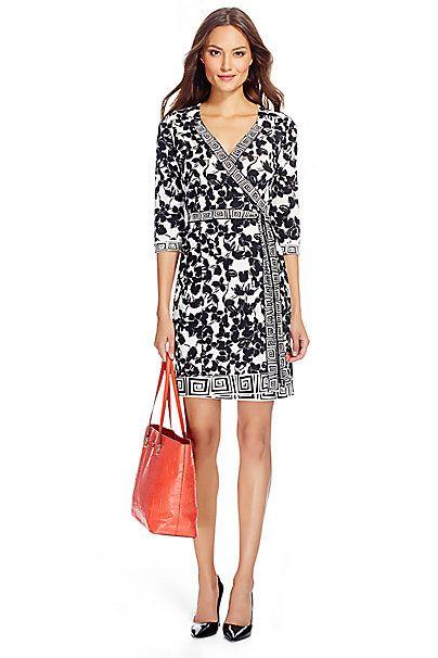 Tallulah Two Silk Jersey Wrap Dress in in Eden Garden Black/ White