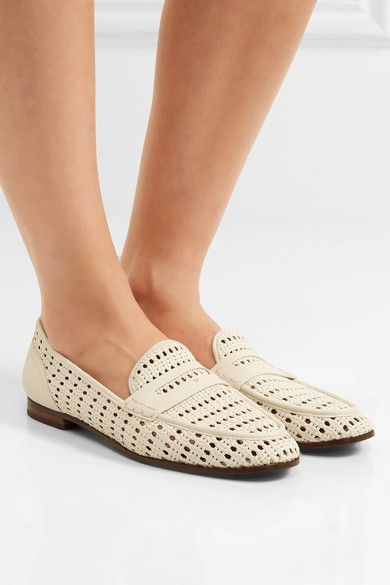 Heel measures approximately 15mm/ 0.5 inches Ivory leather Slip on Imported