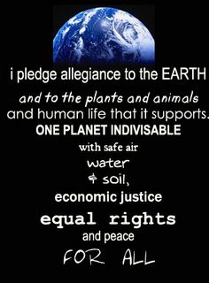 I pledge allegiance to the earth