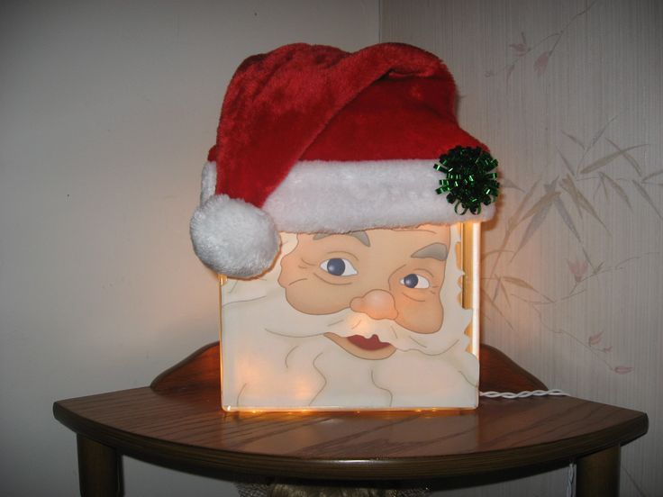 Santa's Face Lighted Glass Block