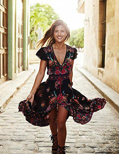 DMTRADE Easily Wear Breathable Chic Design Fashion Summer Vintage Boho Long Maxi Evening Party Beach Dress Floral Sundress M