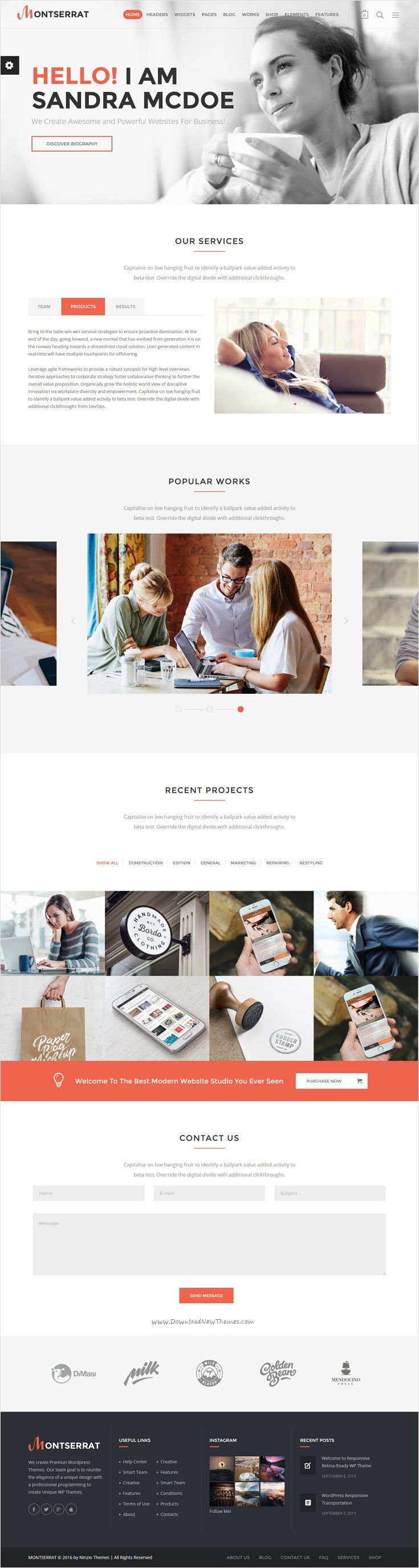 Montserrat is clean and modern 12 in 1 #WordPress theme  for multipurpose #startups #website with drag and drop page builder download now➩ https://themeforest.net/item/montserrat-multipurpose-modern-wordpress-theme/18216156?ref=Datasata