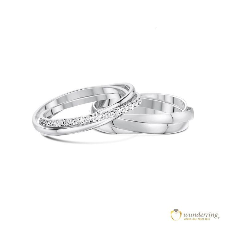 Ineinander verschlungene Ringe gehören in Frankreich zu den Klassikern unter den Eheringen. #französischesdesign #Weißgold #Trauringe