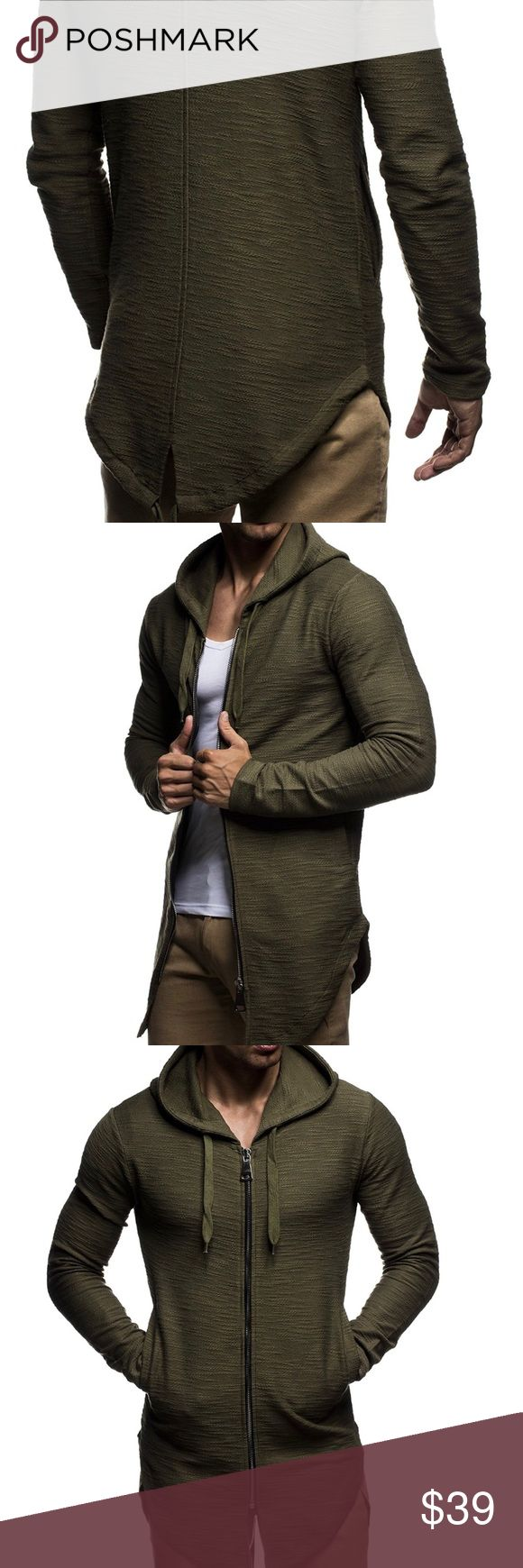 """Leif Nelson   """"Oversized"""" Hoodie NWT. Color is """"Khaki"""" (Olive Green). 100% Cotton. Medium weight. Size is XL. A little small for my husband so I believe it is closer to a L. Bundle with Black for a sweet deal! Shirts Sweatshirts & Hoodies"""