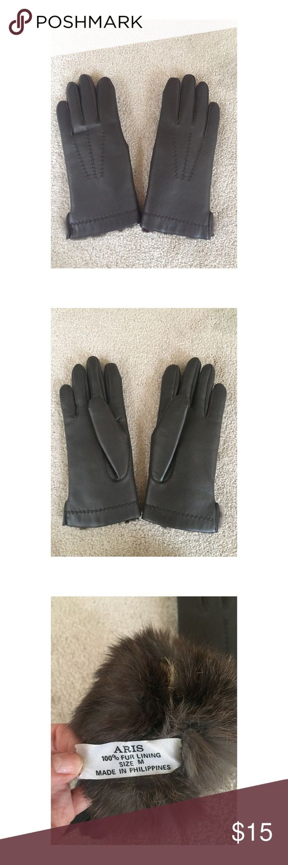 Driving gloves for sale philippines - Brown Leather Fur Lined Gloves