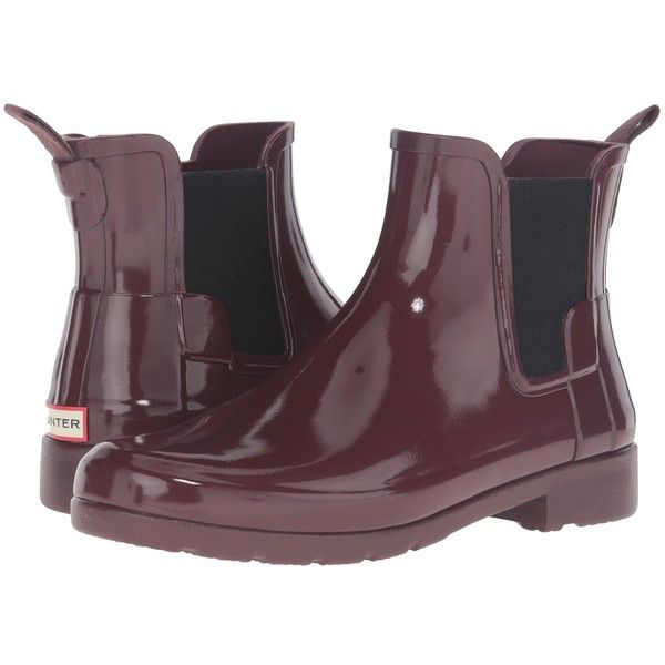 Hunter Original Refined Chelsea Gloss (Dulse) Women's Rain Boots ($145) ❤ liked on Polyvore featuring shoes, boots, slip on shoes, rain boots, hunter boots, short heel boots and wellies boots