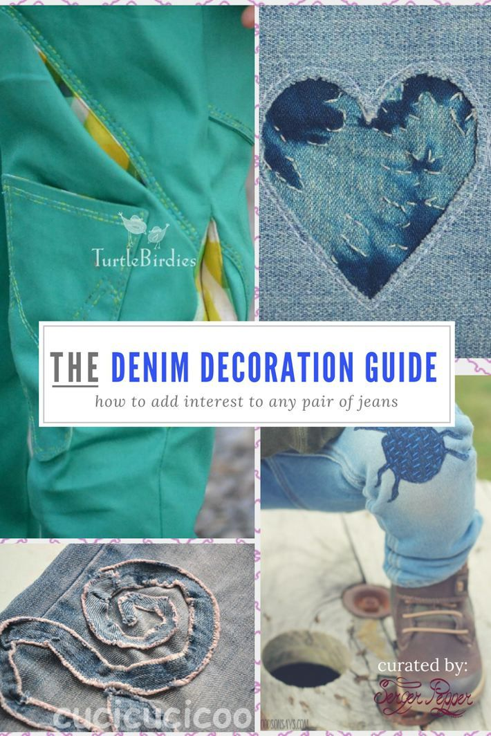 Interested in denim refashioning? You should. Let me show you why with a list of fun embellishments you can add to your jeans and a few tips and tricks you will be happy to know. on SergerPepper.com Customize jeans = add fun to your boring jeans