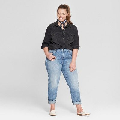 6a6f03e0fa Women s Plus Size Long Sleeve Labette Denim Shirt - Universal Thread Dark  Gray Wash 2X