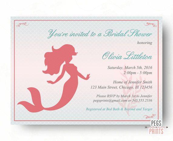 Printable Mermaid Princess Bridal Shower Invitation by PegsPrints