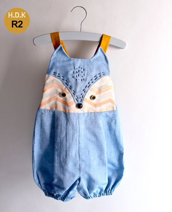 Toddler Kids romper / overalls / All in one with fox face, sizes 1/2T to 7Years. Pdf sewing pattern and tutorial for kids romper / overalls
