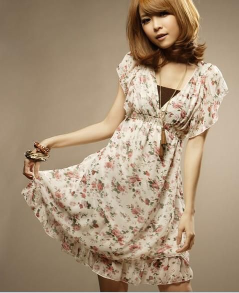 Платье из шифона в цветочек