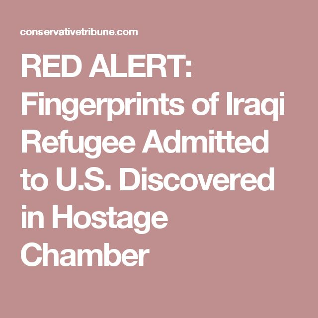 RED ALERT: Fingerprints of Iraqi Refugee Admitted to U.S. Discovered in Hostage Chamber
