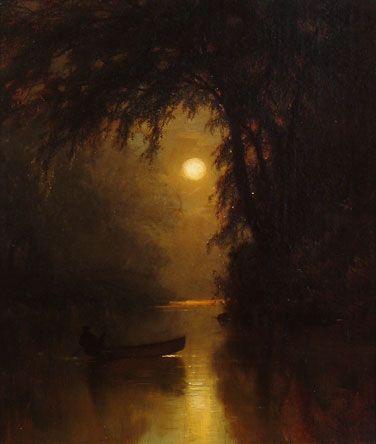 Boating by Moonlight (1878) by Arthur Parton (b. 1842; Hudson, New York – d. 1914, New York City, New York) Oil on canvas, 14 × 12 in. Bio: http://www.invaluable.com/artist/parton-arthur-depqvmcj71 Art: http://fada.com/image/15024/boating-by-moonlight/