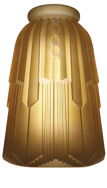 Art Deco Hughes Amber Glass Lamp Shade (2 1/4 Inch Fitter) - Each shade measures 6 1/4 inch tall by 4 1/4 inch wide. The widest part of the bell opening is 3 1/2 inch inside.