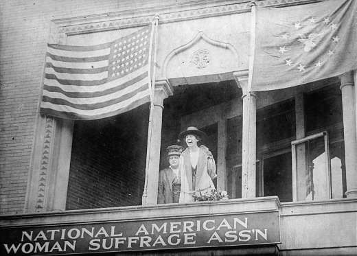 MONTANA: JEANNETTE RANKIN SPEAKS AT THE HEADQUARTERS OF THE NATIONAL AMERICAN WOMAN SUFFRAGE ASSOCIATION (1917) While the photo above was taken in Washington, D.C., Jeannette Rankin made history a year earlier in 1916 when she became the first woman elected into Congress. Rankin served in the House of Representatives and was the only Member of Congress who voted against US participation in both WWI and WWII.