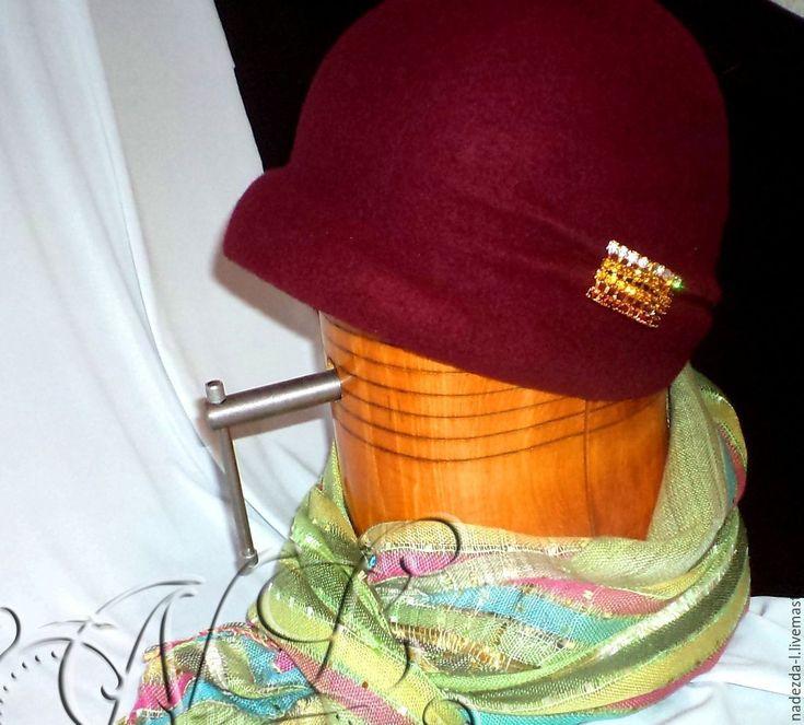 """Купить Шляпка валяная """"Бургундия...!"""" - бордовый, однотонный, шляпка женская, валяная шляпка"""