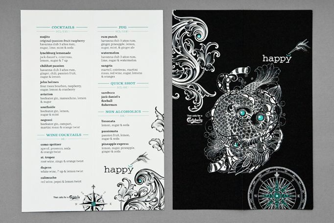 """""""Happy"""" Menu front and back"""