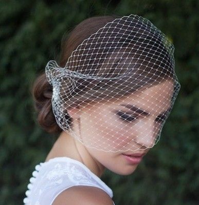 USA White Birdcage Veil Fascinator Pin Up Wedding Bridal Dance