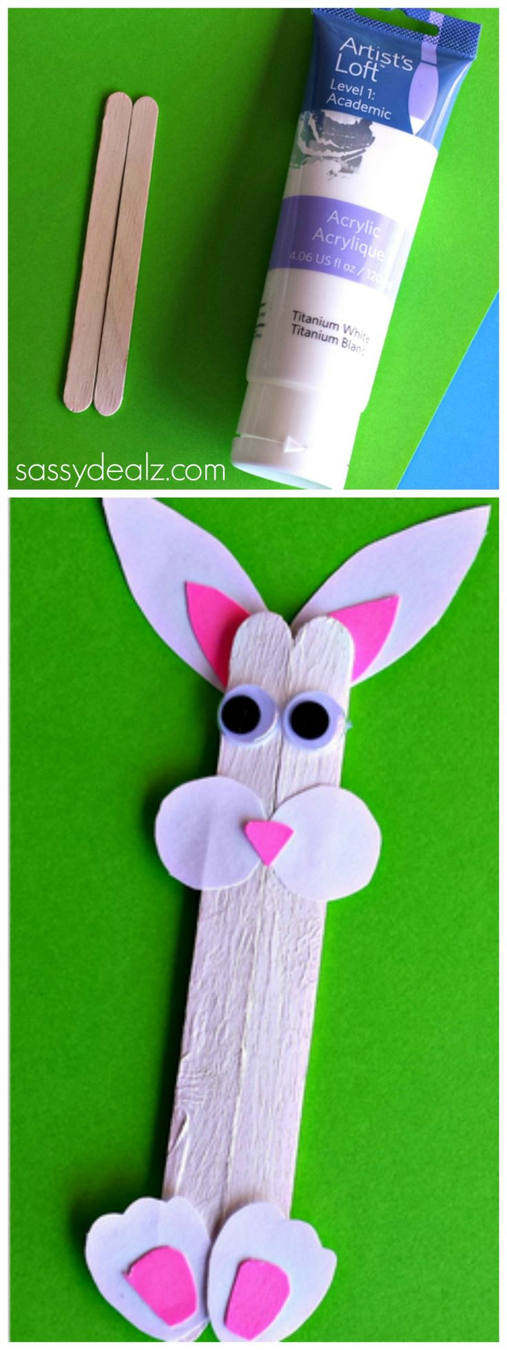 Popsicle stick bunny craft for kids popsicles for kids for Popsicle crafts for kids