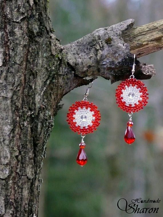 Long red seed bead chandelier earrings with glass bead drop