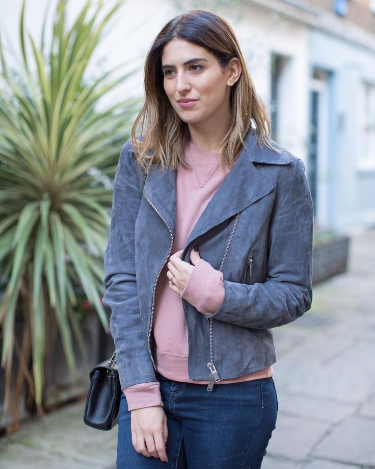 Lily Pebbles wears our Bryony suede biker jacket.