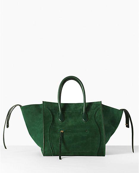 the celine phantom bag.  in green suede.  oy.