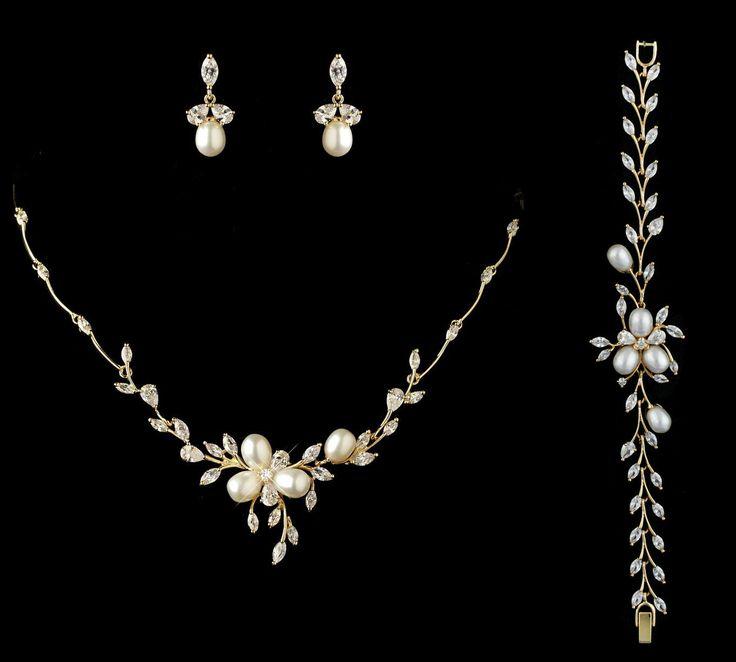 Antique Silver Rhodium Clear CZ Crystal Wedding Jewelry Set ...