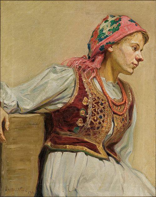 """Adam Międzybłocki (Polish, 1883-1956), """"Krakowianka"""" ('Girl from Kraków'), 1912."""