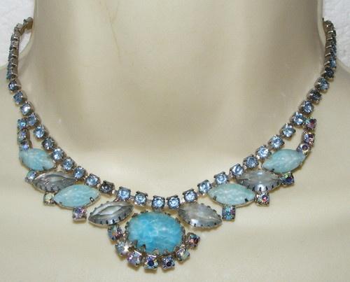 Vintage shades of blue Rhinestone NECKLACE molded art glass costume jewelry | eBay SOLDCrafts Ideas, Glasses Costumes, Vintage, Ebay Sold, Costume Jewelry, Blue Rhinestones, Costumes Jewelry, Necklaces, Art Glasses