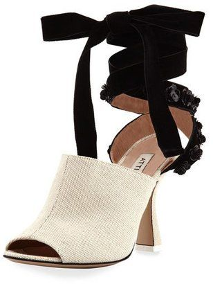 Attico Pamela Canvas & Velvet Ankle-Wrap Sandal Neutral #sandals #summer #heels