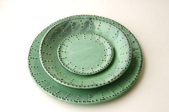 Stoneware Dinner Plates - Set of 2 - Aqua Mist Creamy White Dark Teal - French Country Dinnerware. $58.50, via Etsy.