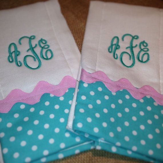 Etsy: monogrammed burp cloth set by ChirpyChicky on Etsy, $20.00
