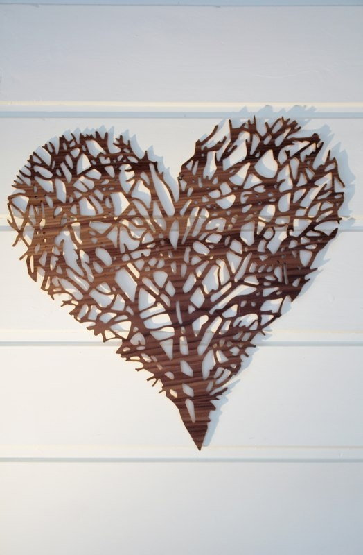 complicated heart, recycled walnut , decorative sculpture, www.designermade.no