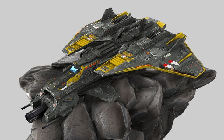 Low-poly spaceship. 3d max, UV-leyout, photoshop.