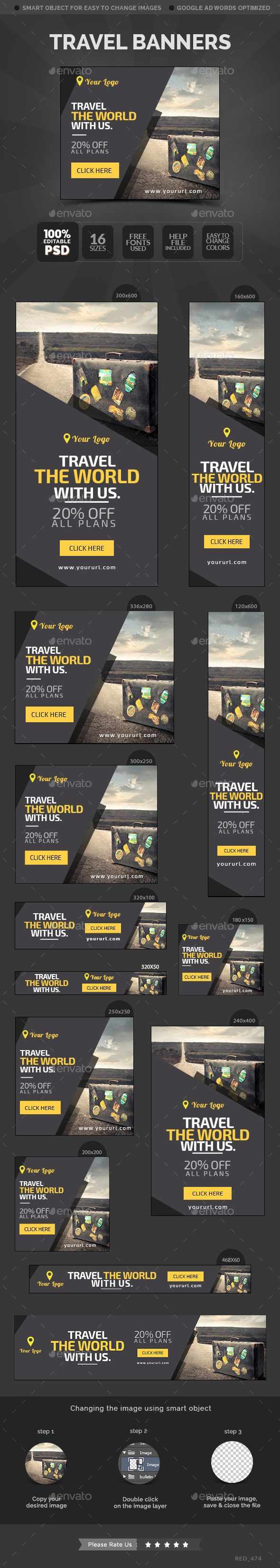 Travel Banners Template #design Download: http://graphicriver.net/item/travel-banners/12418730?ref=ksioks