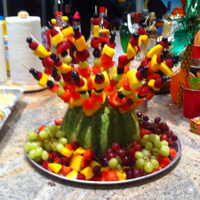 Fruit skewers and what to do with left over watermelon shell!! I'm amazing!!!
