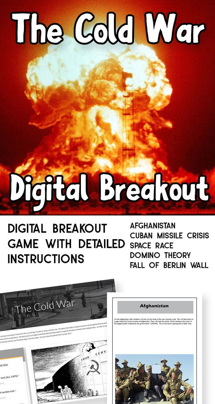 Breakout games are fun, but can be a lot of work to set up the   traditional type.  Save some time by playing a digital breakout!  No   need for locks or copies or any other preparation other than having   devices and internet access!  This digital breakout game includes:  the domino theory  the space race  the Soviet invasion of Afghanistan  the Cuban Missile Crisis  the Fall of the Berlin Wall