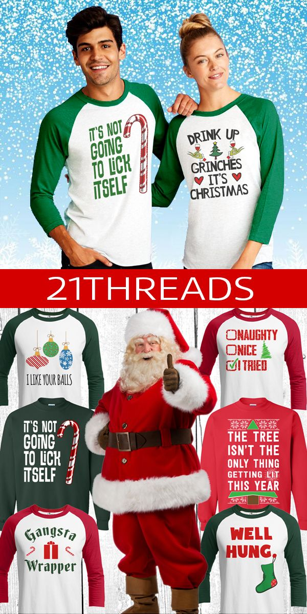 "Look Cool...Don't Be A Sweater Fool This Holiday Season! 21 Threads is the home of the ""World's Funniest Christmas Collection"" Our super soft, premium cotton/poly blend raglans are not only the funniest shirt you'll see this year, but the softest and most comfy too! Ugly christmas sweaters are so 2011. Over 300 adult+kids designs, hilarious home decor, christmas mugs, leggings, tumblers, pillows and much more!--21threads.com--is your 1 stop shop for holiday awesomeness! Check us out Today!"