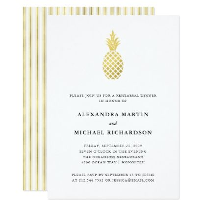 Elegant Gold Pineapple Rehearsal Dinner Card - elegant gifts gift ideas custom presents