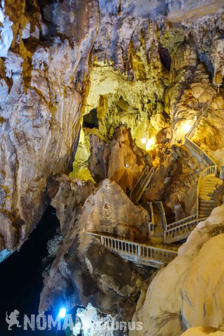 Staircases inside the cave. Thakhek Loop Motorbike Scooter Laos                                                                                                                                                                                 More
