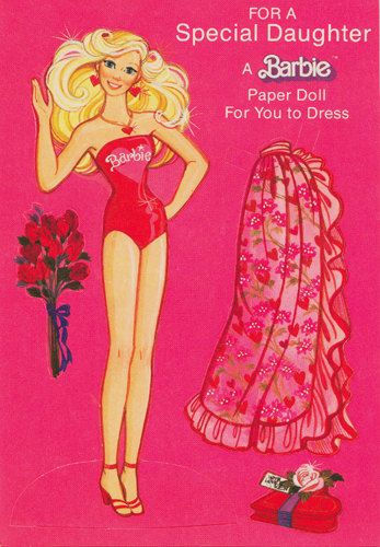 Vintage Uncut Paper Doll Unused 1978 Barbie Hallmark Greeting Card Valentine