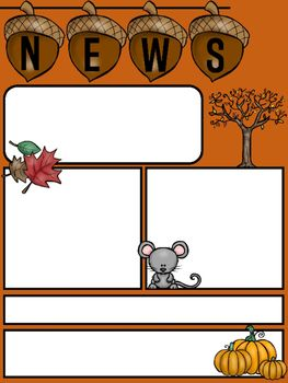 Editable Newsletter Template for Fall*2 pages*Color & BWHappy Teaching!