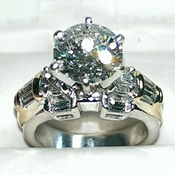 3.50 carat diamond engagement ring set in 14k yellow and white gold.