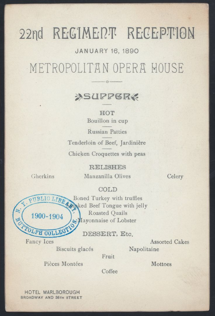 Menu from The Met 1890 | New York Public Library