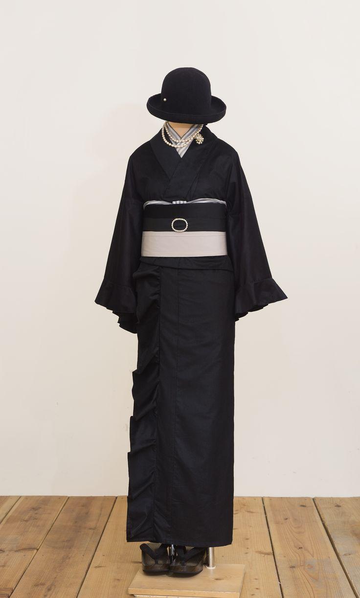 フリル着物(コーデュロイ・ブラック) | 着物、浴衣 さく…