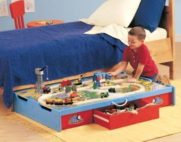 Smart Under-the-Bed Trundle Playtable I LOVE this idea!  Especially for my small home, lack of space.