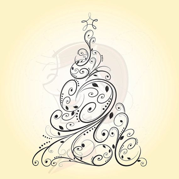 Digital Christmas Trees Vintage Christmas Retro by MayPLDigitalArt
