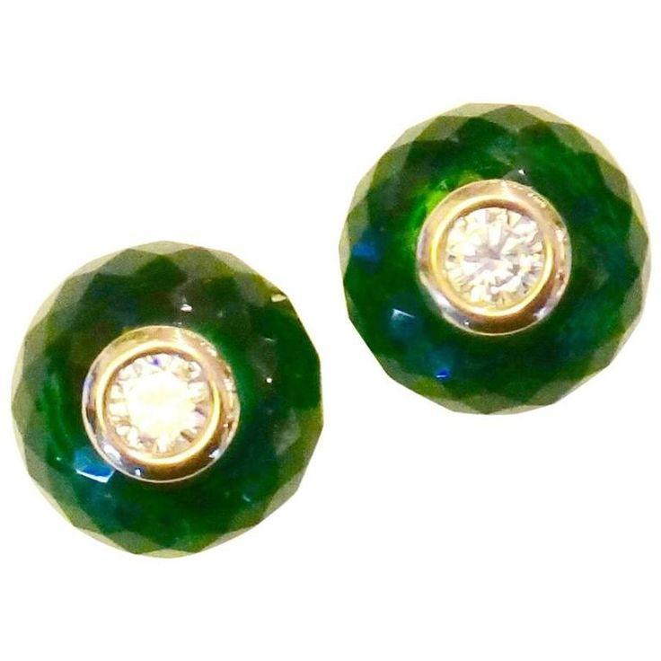 Green Topaz White Sapphire Gold Stud Earrings | See more rare vintage Stud Earrings at https://www.1stdibs.com/jewelry/earrings/stud-earrings