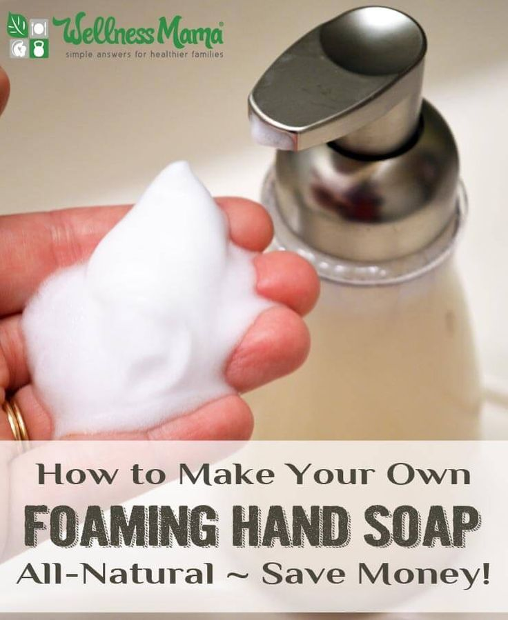 DIY Foaming Hand Soap - This easy foaming hand soap contains only water, organic liquid castille soap, a moisturizing oil and optional essential oils.